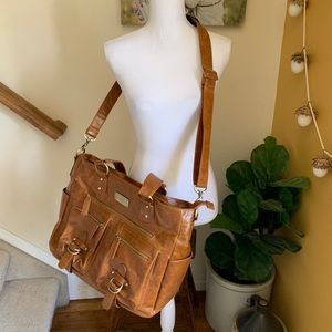 Kelly Moore Libby brown faux leather camera bag